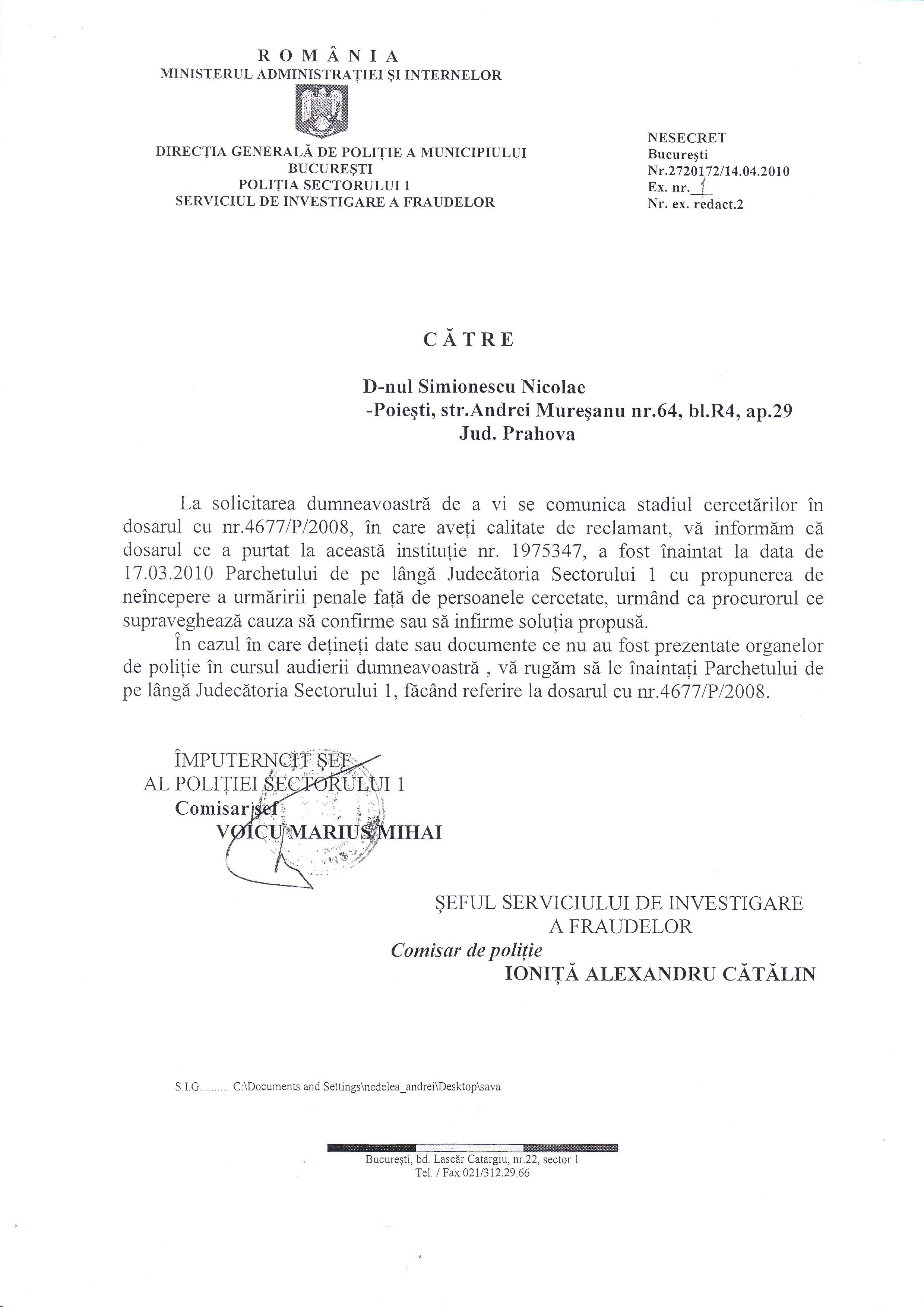 model adresa oficiala catre o institutie