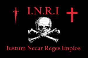 Sus:I.N.R.I.:ISUS din Nazaret,Regele Iudeilor. Jos:Ucide Doar Regii Răi.
